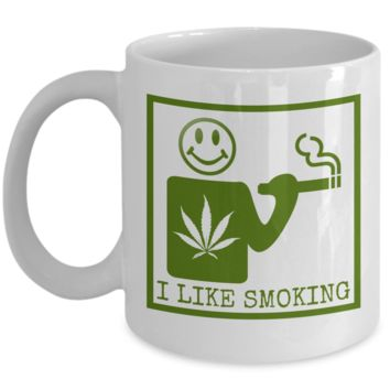 I Like Smoking Coffee Mug - Green SQ (Front Only)