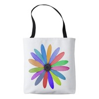 multicolor flower tote bag
