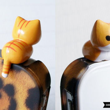 SALE30%OFF: Cute Crouching Kitten iPhone Plug . Phone Charm . Phone Plug . Dust Plug // Hand Painted, Cat, Kawaii, Girly, Tiger Kitten
