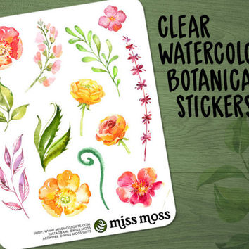 Clear Watercolor Botanical Flower Floral Planner Stickers #2 - Erin Condren, Happy Planner, Kikki K, Filofax, Decorative