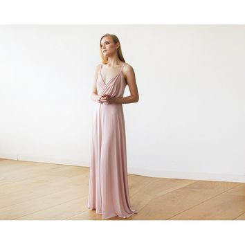 Blush pink maxi wrap dress 1060