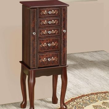 Cherry finish wood Jewelry armoire chest with painted floral decor accents