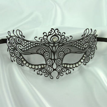 Mythical Goddess Collection Black Metal Filigree Laser Cut Masquerade Mask