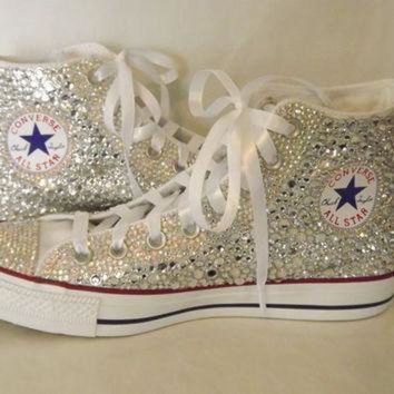 CREYUG7 CUSTOM Bling Rhinestone Converse Chuck Talor High Top Sn 0207516bd8