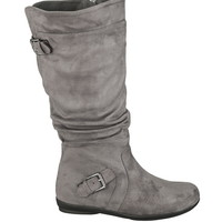 Gray Wilma Double Buckle Wide Boot - Gray