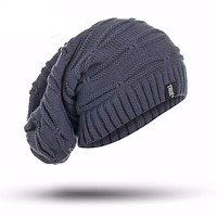 New True Letter Winter Hat Long Knitted Cap
