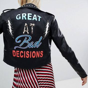 Only Leather Embroidered Look Biker Jacket With Studs at asos.com