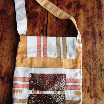 Tote Bag Purses and Totes Market Bag  Repurposed Recycled Linen Towelling