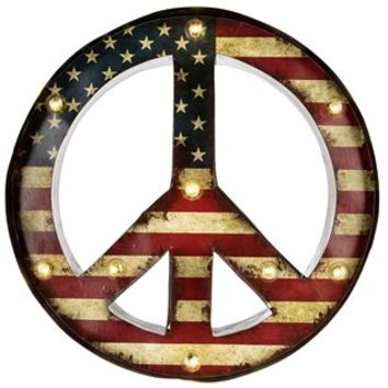 Metal Peace Sign with American Flag & LED Lights | Shop Hobby Lobby