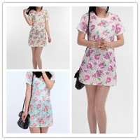 Women : Floral printed short sleeve dress lace dress ghl1011