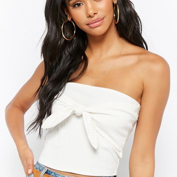 Tie-Front Ribbed Tube Top