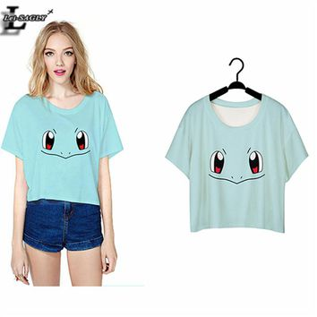 Squirtle Pokemon Costume Punk Harajuku T shirt Women Short Sleeve  Crop Top Blusa Summer O-neck