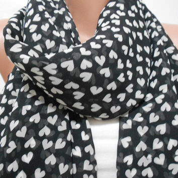 Black Heart Scarf Shawl, White Heart Pattern Black Cowl Scarf, Gift For Mom For Her For Valentine, ScarfClub