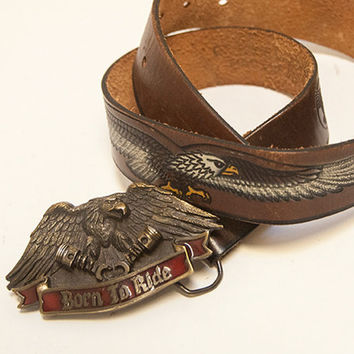 Born to Ride Leather Belt | Bald Eagle Harley Biker Belt | Vintage Hand Painted Tooled Leather Belt w/ Vintage Metal Enamel Buckle 80s Moto