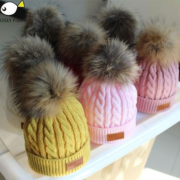 skullies beanies for kids fur ball cap winter hats children kidsboys girls pompom skullies beanies for kids pompom hat