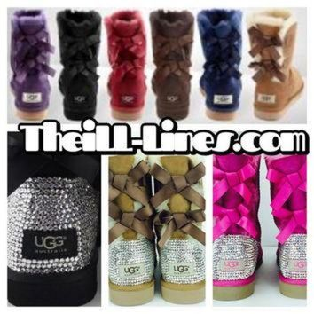 CREY1O Custom Bailey Bow UGG Boots made with Swarovski Bailey Bow Free: Shipping, Repair Kit,