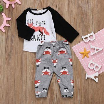 Abacaxi Kids Fox Baseball Tee Outfit 6-24M