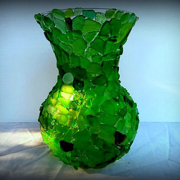 Beach Glass Vase Seaglass Art Beach Weddings Nautical Decor Shades of Green