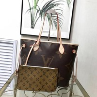 Louis Vuitton LV Women Leather Shoulder Bag Satchel LV Tote Bag Handbag Shopping Leather