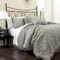 Lush Decor Lake Como 4-Piece Comforter Set, Queen, Grey:Amazon:Home & Kitchen