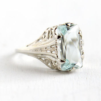 Antique 10k White Gold Art Deco Aquamarine Ring - Size 7 Vintage Filigree 1920s 1930s Solitaire Blue Gemstone Fine Jewelry