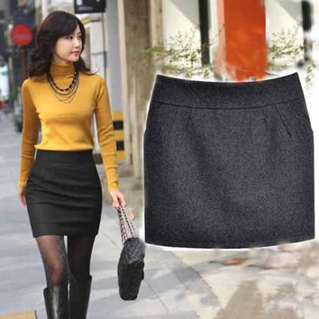 High Quality Fashion Skirts Womens Winter Skirt Mini Skirt Plus size Women Skirt Black Gray S - XXXL