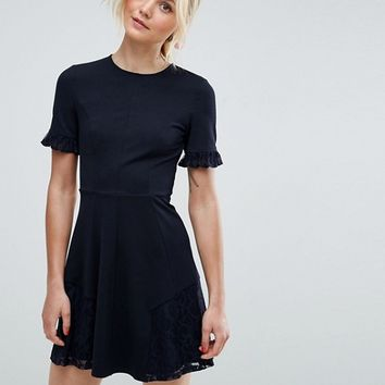 ASOS Lace Insert Mini Skater Dress at asos.com
