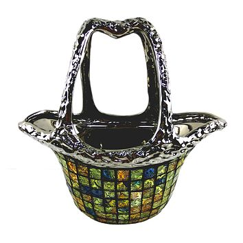 "Decorative Ceramic & Glass Flower Vase Purse Bag 12.5"" x 6.5"" x 12""(H)"