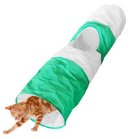 Evelots Foldable Cat Tunnel, 40 Inches Long, Pet Supplies & Toys, Green & White