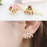 Cute Kiss Rhinestone Earrings