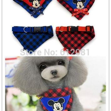 Free shipping Pet Dog puppy Cat cute lovely Bandana Scarf Collar Bib Pets Bow Tie Dog Bibs mickey mouse red blue 10pcs/lot