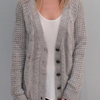Chunky Knit Cardigan Sweater in Grey