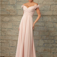 Stunning Off The Shoulder Dress for Bridesmaid 2015 Chiffon Long Blush Bridesmaid Dresses