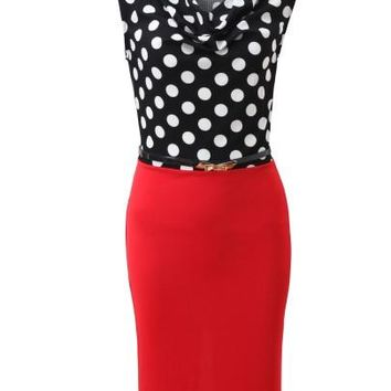 Polka Dots Round Neck Women's Pencil Dress