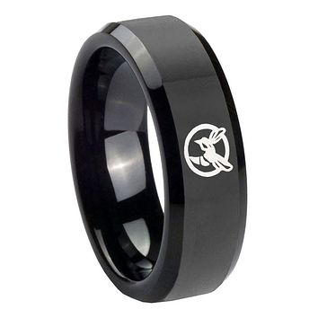 10MM Honey Bee Glossy Black Beveled Edges Tungsten Carbide Men's Ring