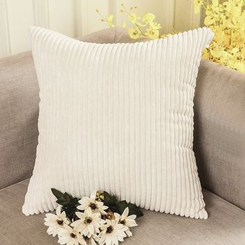 HOME BRILLIANT Super Soft Plush Corduroy Solid Textured Large Throw Euro Pillow Sham Cushion Cover with Zipper, 26 x 26(66cm), Cream Cheese