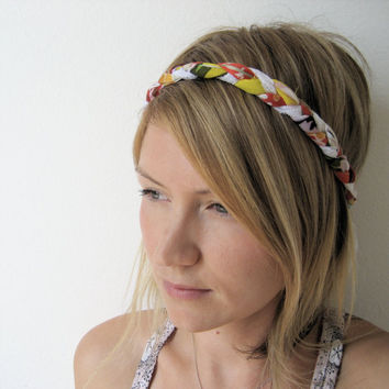 The Braided Headband In Coral and Yellow by SevenWhiteRabbits