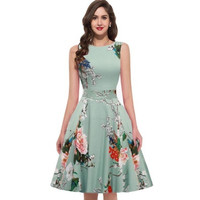 Rockabilly Dress Retro Women Summer O-neck Sleeveless Flower Print Robe 60s 50s Dress Vintage Pinup 50s Swing Rockabilly Dress [9221656644]