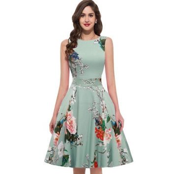 Rockabilly Dress Retro Women Summer O-neck Sleeveless Flower Print Robe 60s 50s Dress Vintage Pinup 50s Swing Rockabilly Dress [9305624583]