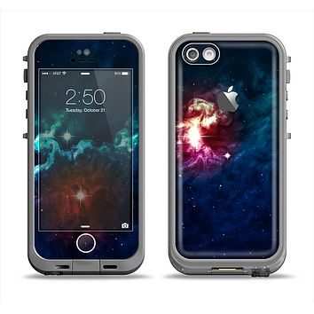 The Glowing Colorful Space Scene Apple iPhone 5c LifeProof Fre Case Skin Set