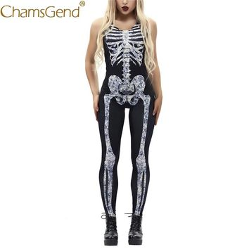 Free Shipping 3 Color Choice Skeleton Print Women Slim Skinny Jumpsuit Cosplay Costume Female Bodysuit For Halloween 80814