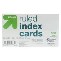 up & up™ Ruled Index Cards 3 in. x 5 in. - White - 100ct