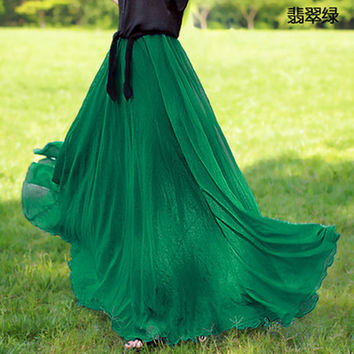 Posed a beach in the summer the new chiffon skirt women fashion long big yards tall waist Bohemian skirts