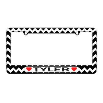 Tyler Love with Hearts - License Plate Tag Frame - Black Chevrons Design