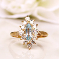 Vintage Marquise Aquamarine & Diamond Ring Alternative Engagement Ring 14K White Gold Diamond Wedding Ring March Birthstone Ring Size 6.5!