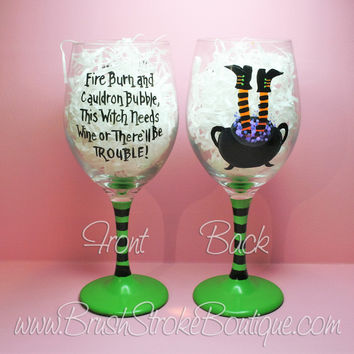 Hand Painted Wine Glass - Cauldron Trouble Orange - Original Designs by Cathy Kraemer