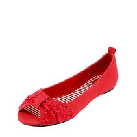 Red Circle Peep Toe Flats - 			        	Women's Apparel Blowout: Shop Your Size