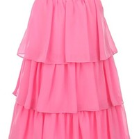 Sweet Kids Big Girls' Triple Tiered Chiffon Dress 8 Bubblegum Pink (Sk 3707)