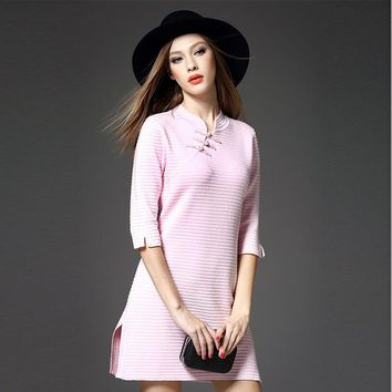 Half-sleeve Tops Slim Knit One Piece Dress [288439697449]