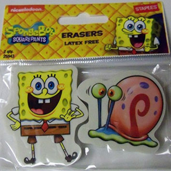 Staples Spongebob Squarepants Set of 2 Erasers ~ Smiley Spongebob, Gary